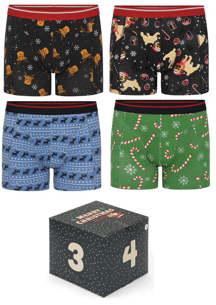 4 par jule-boxershorts i adventskalender - Str. Small